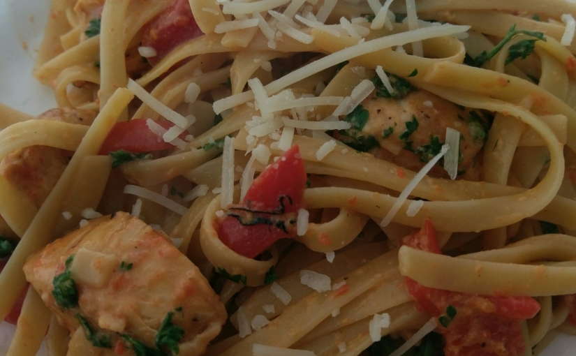Chicken Fettuccine with Roasted Red Peppersauce