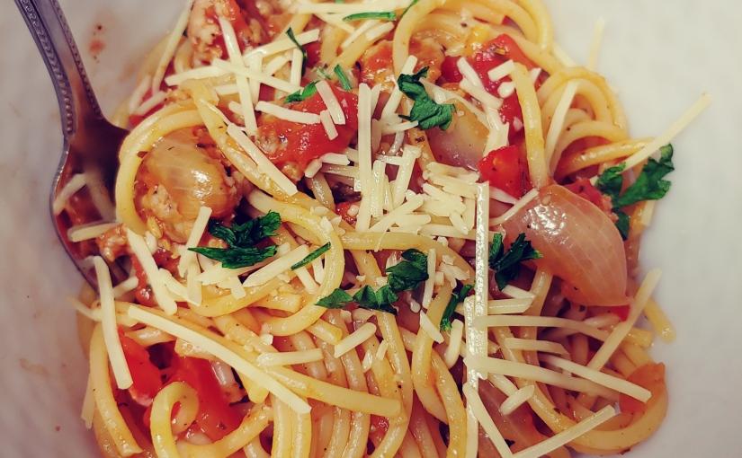 Tuscan Sausage Spaghetti